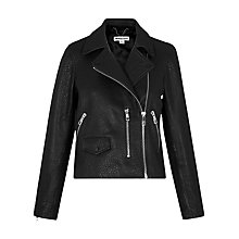 Buy Whistles Agnes Bubble Leather Biker Jacket, Black Online at johnlewis.com