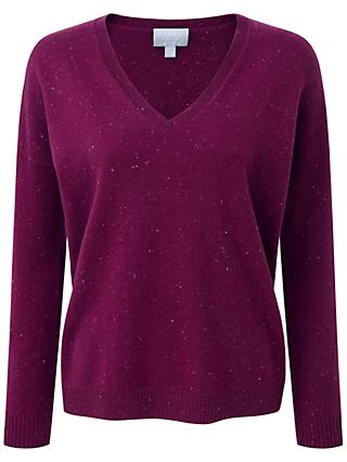 Pure Collection Mary Relaxed Jumper, Berry Fleck