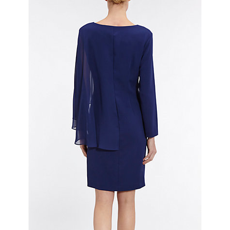 Buy Gina Bacconi Moss Crepe And Chiffon Long Sleeve Dress, Navy Online at johnlewis.com