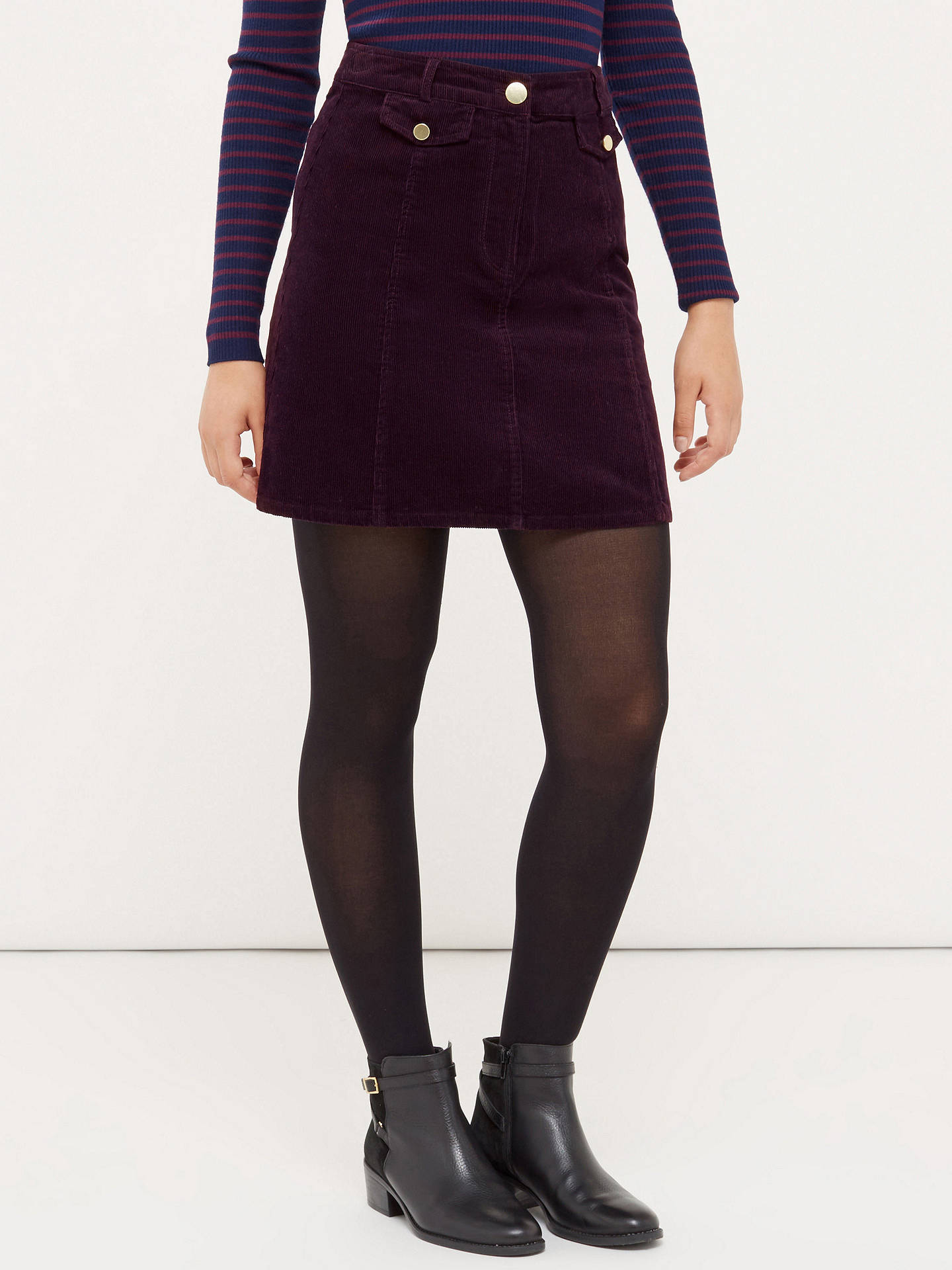 8c979da84 ... Buy Oasis Cord Pocket Mini Skirt, Burgundy, 8 Online at johnlewis.com  ...