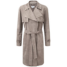 Buy Pure Collection Celine Suede Trench Coat, Warm Taupe Online at johnlewis.com