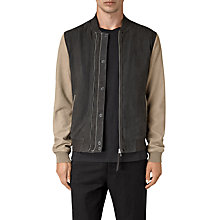Buy AllSaints Avon Leather Bomber Jacket, Steel Blue/Shale Online at johnlewis.com