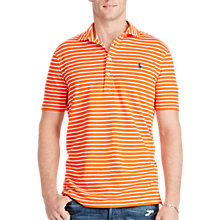 Buy Polo Ralph Lauren Custom Fit Striped Polo Shirt, Active Orange Online at johnlewis.com