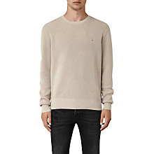 Buy AllSaints Trias Crew Neck Jumper, Taupe Marl Online at johnlewis.com
