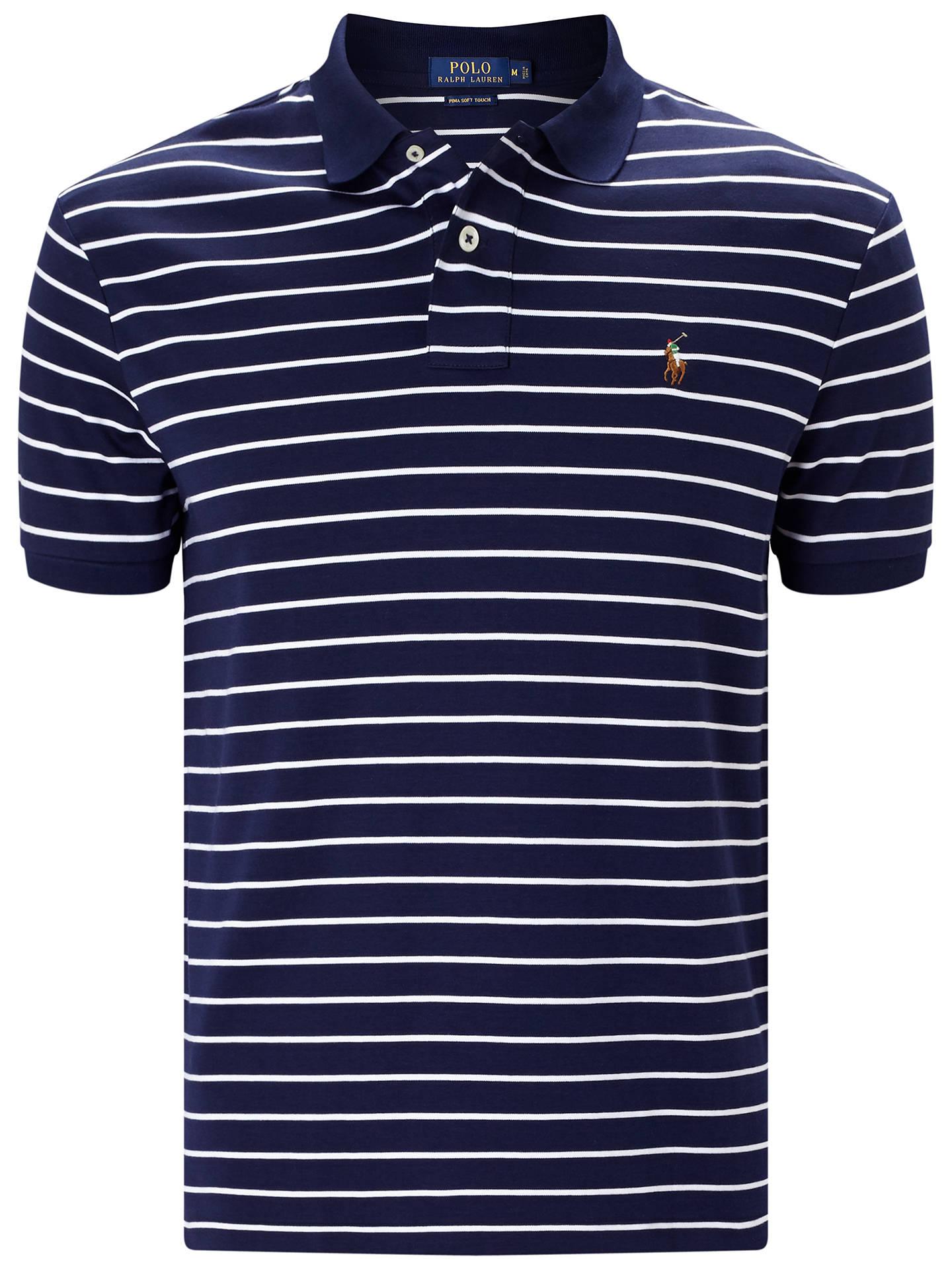 6719e1479514 BuyPolo Ralph Lauren Striped Pima Soft-Touch Polo Shirt, French Navy White,  ...