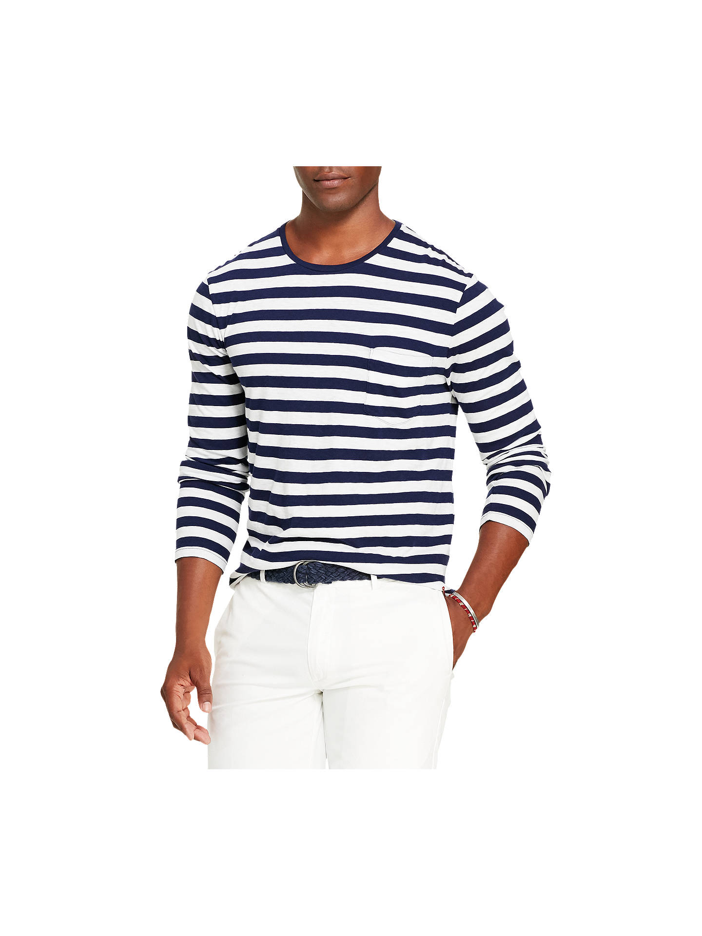 69384ba2 Buy Polo Ralph Lauren Striped Long Sleeve T-Shirt, Cruise Navy/White, ...