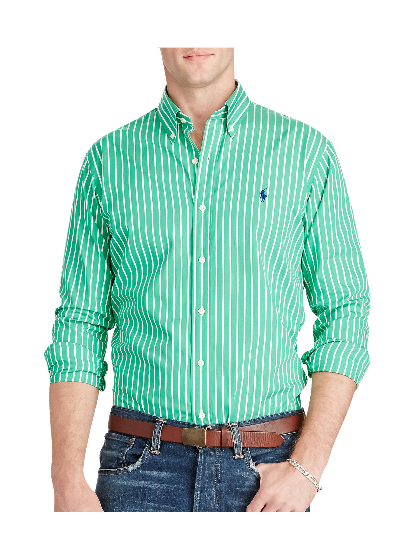 3acbcaa312bf Polo Ralph Lauren Cotton Poplin Stripe Shirt at John Lewis   Partners