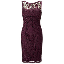 Buy Adrianna Papell Guipure Lace Shift Dress, Mulberry Online at johnlewis.com