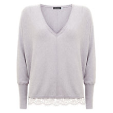 Buy Mint Velvet Lace Hem V-Neck Jumper, Purple Online at johnlewis.com