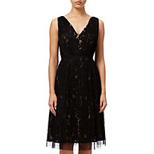 Buy Adrianna Papell Lace Overlay Fit And Flare Prom Dress, Black/Pale Pink Online at johnlewis.com