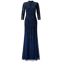 Buy Adrianna Papell Mock Turtleneck Beaded Gown, Deep Blue Online at johnlewis.com