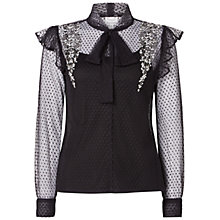 Buy Raishma Polka Dot Pussybow Shirt, Black Online at johnlewis.com