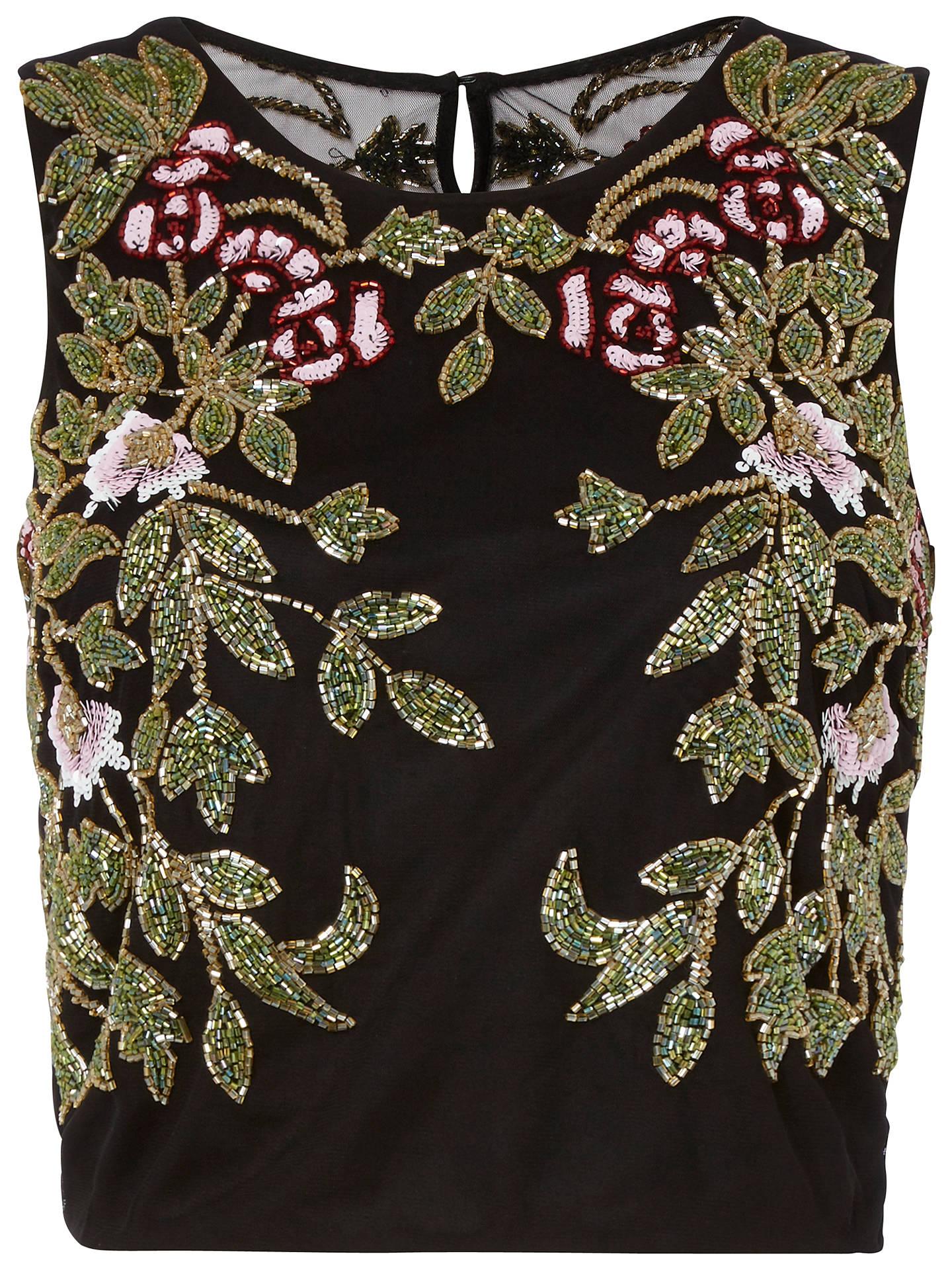 ab9e6a1fb7d Buy Raishma Floral Embroidered Crop Top, Black, 8 Online at johnlewis.com  ...