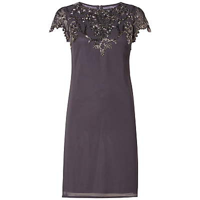 Raishma Embellished Neck Dress, Charcoal