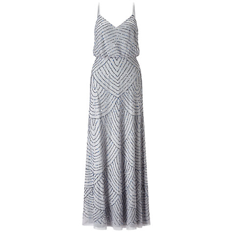 Buy Adrianna Papell Long Blouson Dress, Dusty Blue Online at johnlewis.com