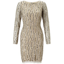 Buy Adrianna Papell Long Sleeve Beaded Cocktail Dress, Silver/Nude Online at johnlewis.com