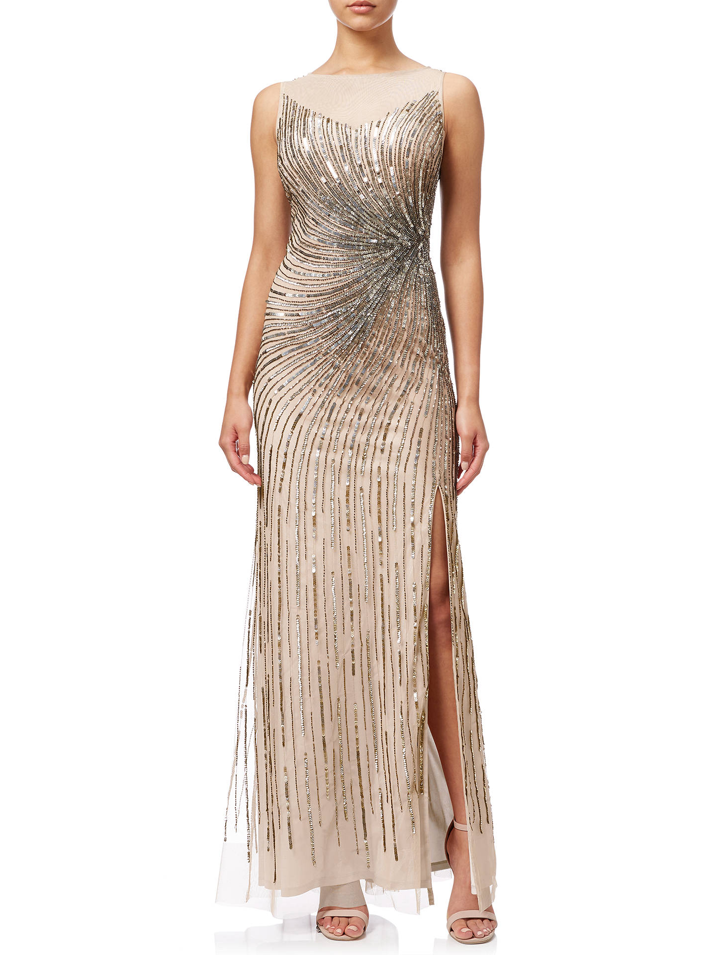 Adrianna Papell Sleeveless Beaded Mermaid Slit Gown, Taupe Pink at ...