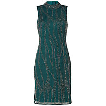Buy Raishma High Collar Slim Embroidered Cocktail Dress, Green Online at johnlewis.com