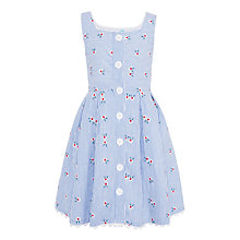 Buy John Lewis Girls' Seersucker Stripe Floral Button Through Dress, Blue Online at johnlewis.com