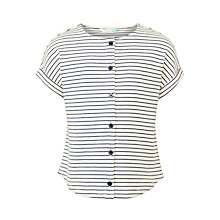 Buy John Lewis Girls' Striped Button Up T-Shirt, Cream Online at johnlewis.com