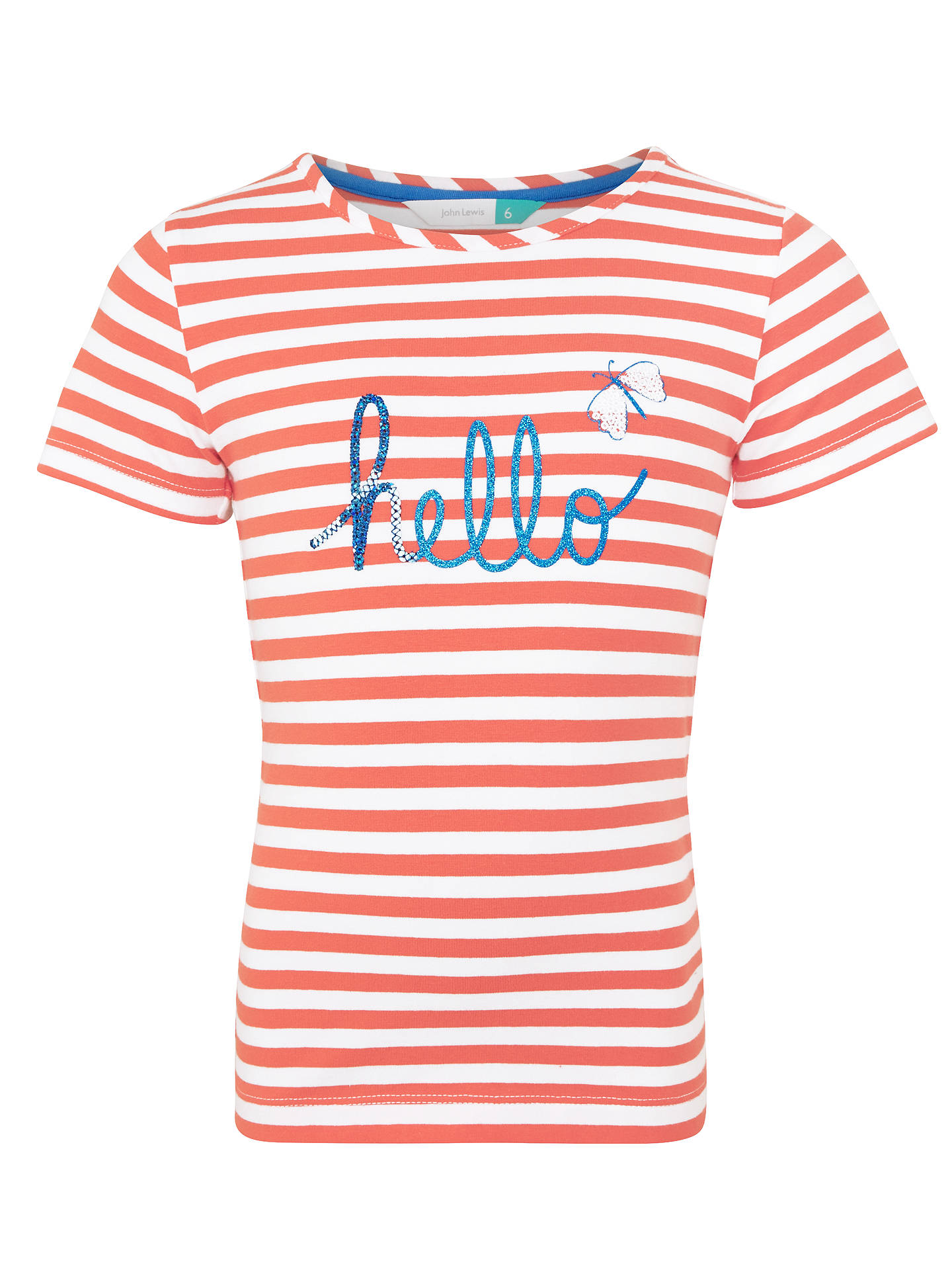7a15dd84b73 BuyJohn Lewis Girls  Hello Stripe T-Shirt