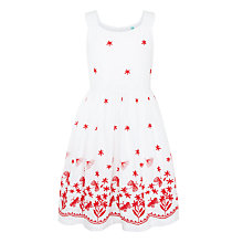 Buy John Lewis Girls' Flower and Butterfly Embroidery Dress, White Online at johnlewis.com