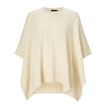 Buy Polo Ralph Lauren Cable Knit Cashmere Poncho, Heritage Cream Online at johnlewis.com