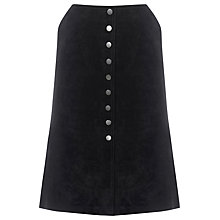 Buy Warehouse Suede Button Midi Skirt, Black Online at johnlewis.com