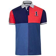 Buy Hackett London Quad Block Polo Top, Navy/Red Online at johnlewis.com