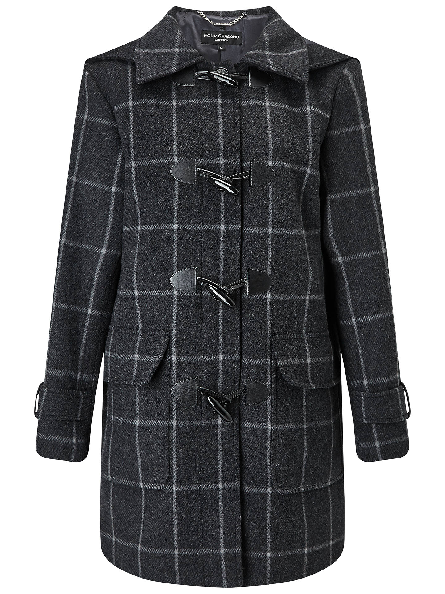 BuyFour Seasons Check Duffle Coat, Charcoal/Black, XS Online at johnlewis.com
