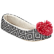 Buy John Lewis Aztec Pom Ballet Slippers, Black Online at johnlewis.com