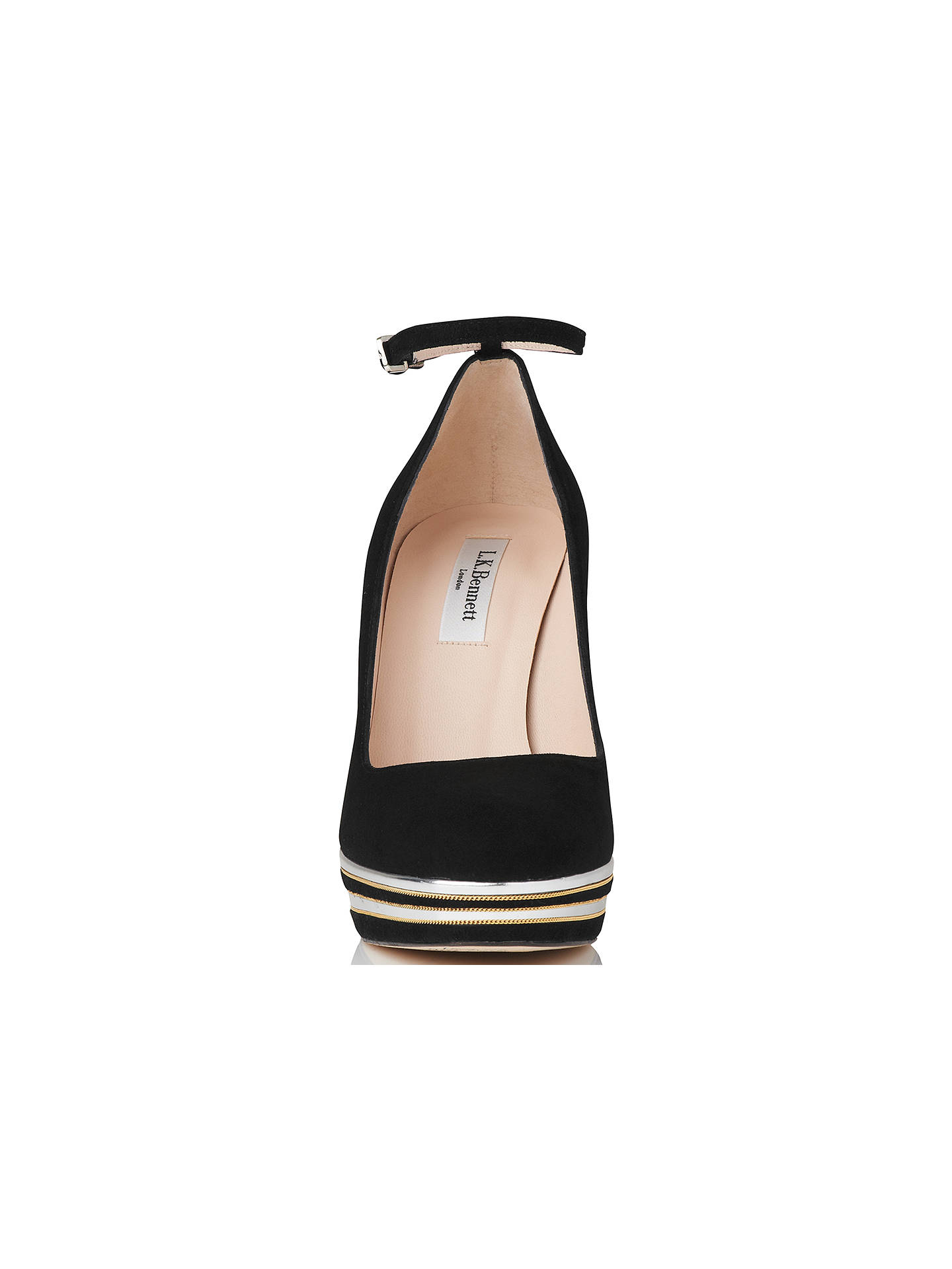 BuyL.K. Bennett Sevina Block Heeled Platform Court Shoes, Black, 2 Online at johnlewis.com