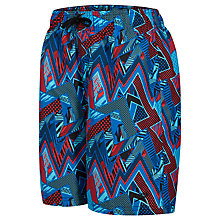 "Buy Speedo Boys' Electro Camo Print Leisure 17"" Watershorts, Black/Blue Online at johnlewis.com"