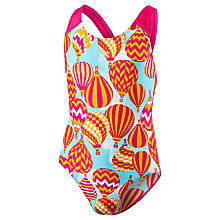 Buy Speedo Girls' Splashback Balloon Print Swimsuit, Pink/Orange Online at johnlewis.com