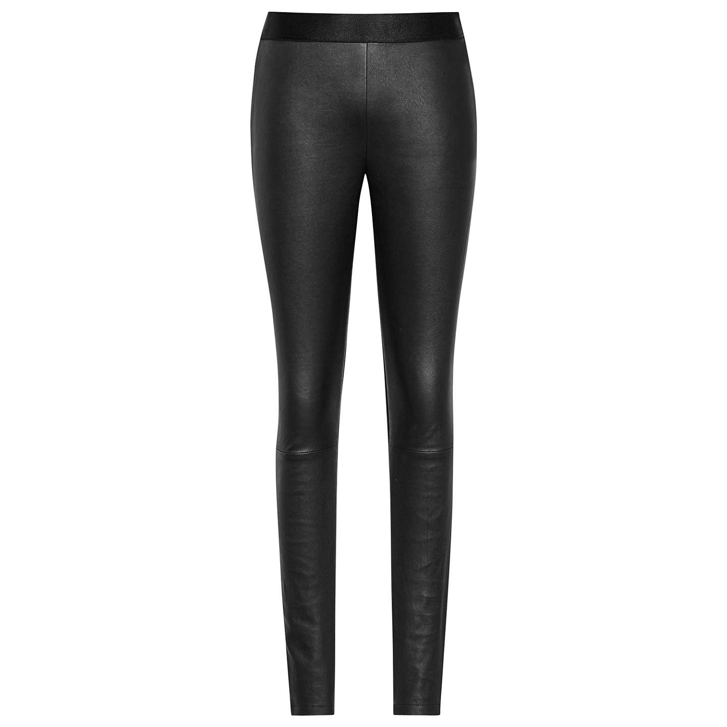 BuyReiss Knole Ponte Leather Mix Trousers, Black, 6 Online at johnlewis.com