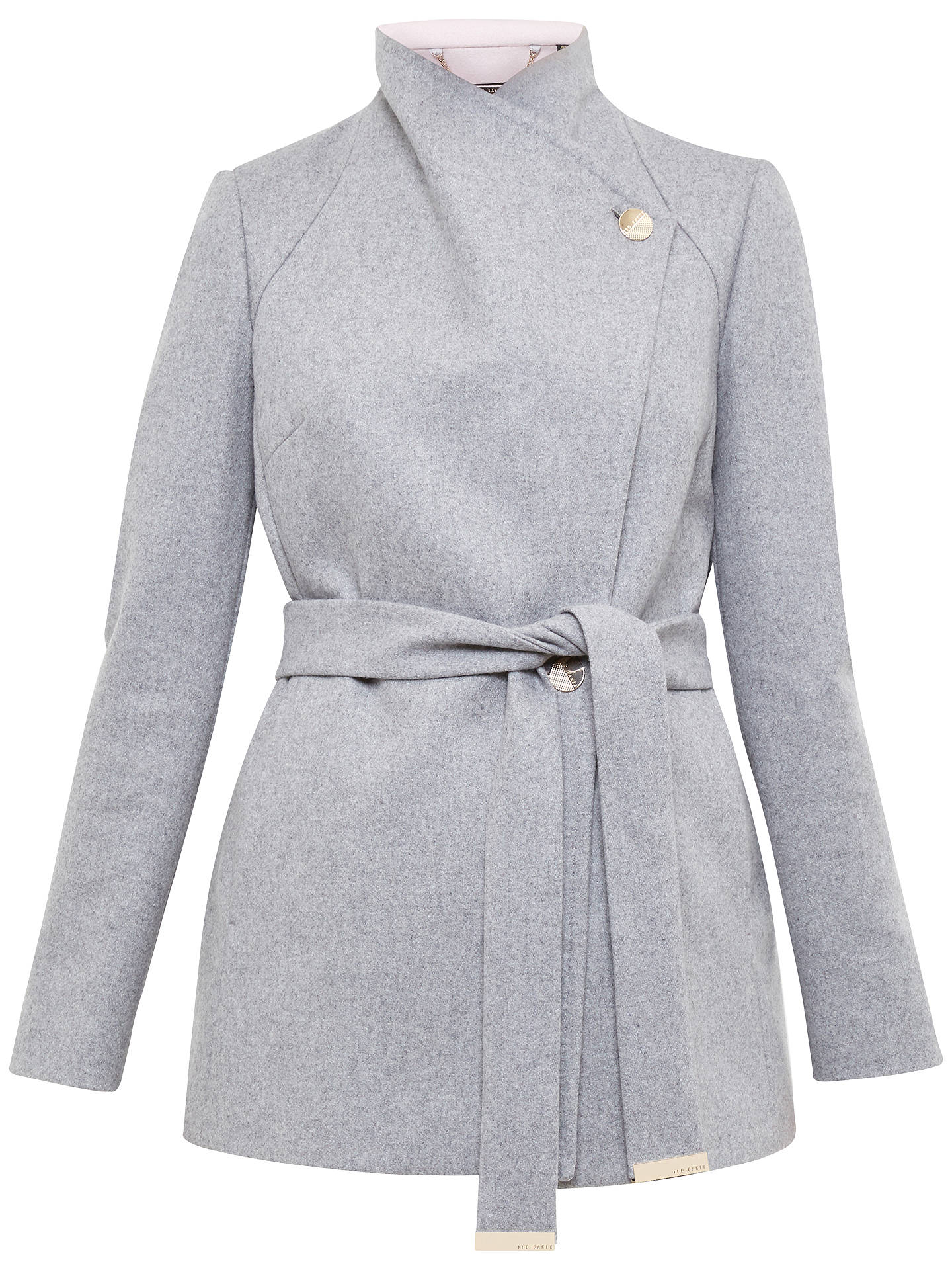 016799eb Buy Ted Baker Elika Contrast Lapel Short Wrap Coat, Grey Marl, 0 Online at  ...