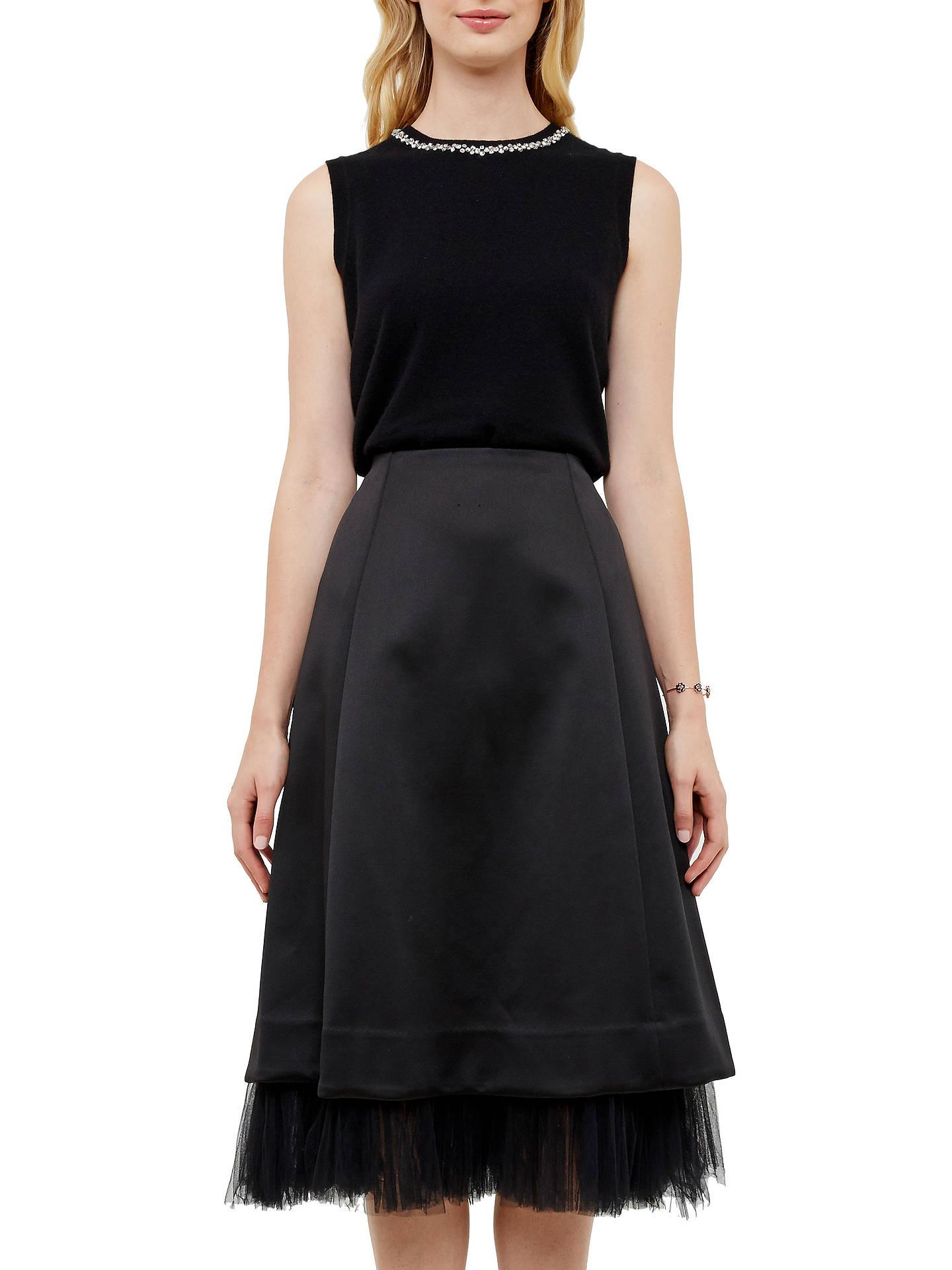 df8f852fd4 Buy Ted Baker Olenaa Tulle Trim Midi Skirt, Black, 0 Online at johnlewis.