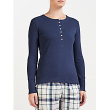 Buy John Lewis Henley Ribbed Jersey Pyjama Top, Navy Online at johnlewis.com
