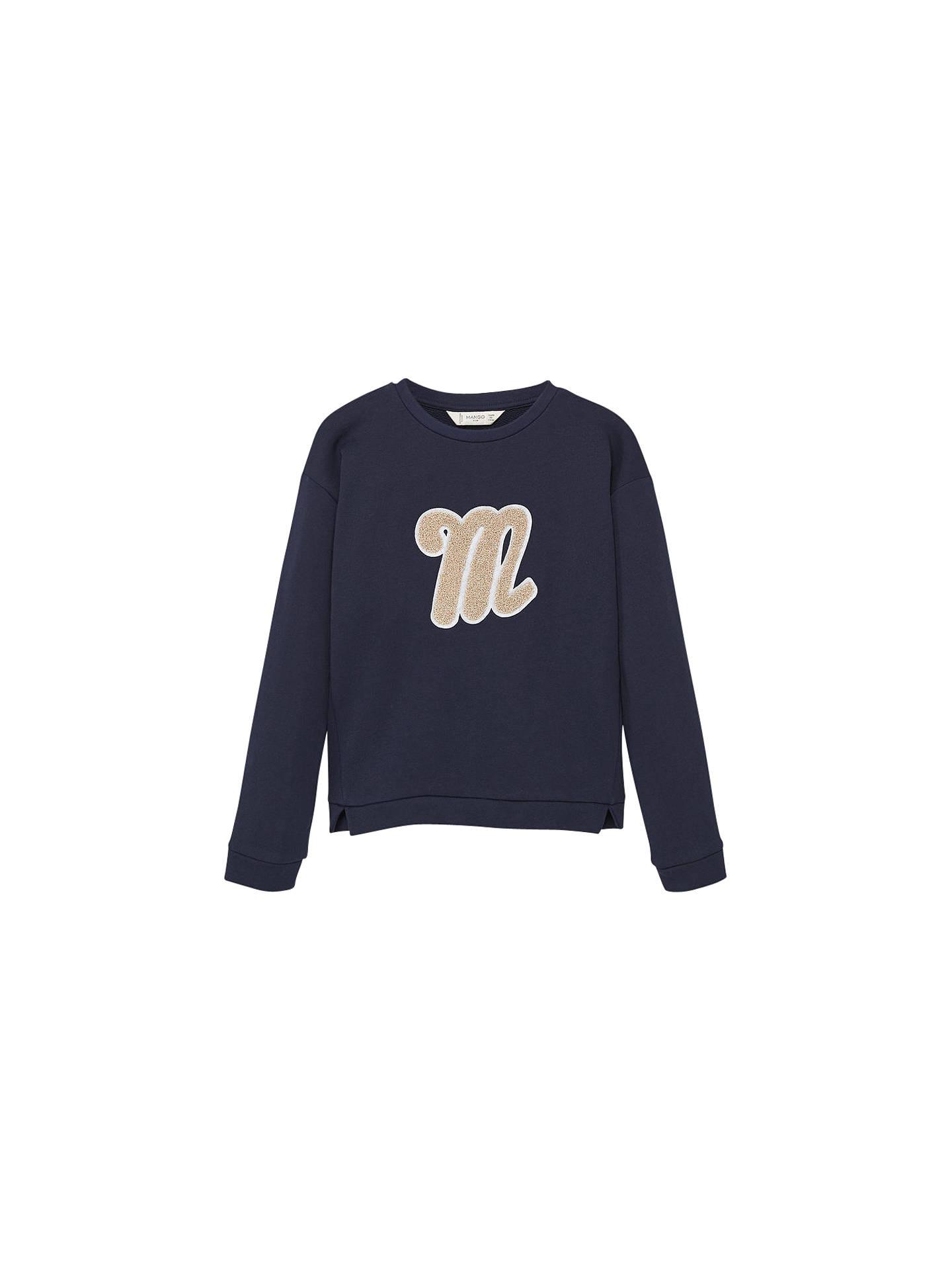 49d6e2b9b BuyMango Kids Girls' Logo Cotton Sweatshirt, Navy, 3 years Online at  johnlewis.