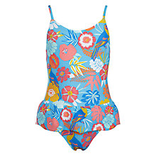 Buy John Lewis Girls' Tropicana Swimsuit, Blue/Multi Online at johnlewis.com
