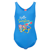 Buy John Lewis Girls' Sunglasses Print Swimsuit, Blue Online at johnlewis.com