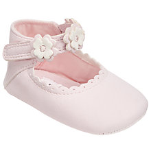 Buy John Lewis Baby Floral Applique Mary Jane Pram Shoes, Pink Online at johnlewis.com