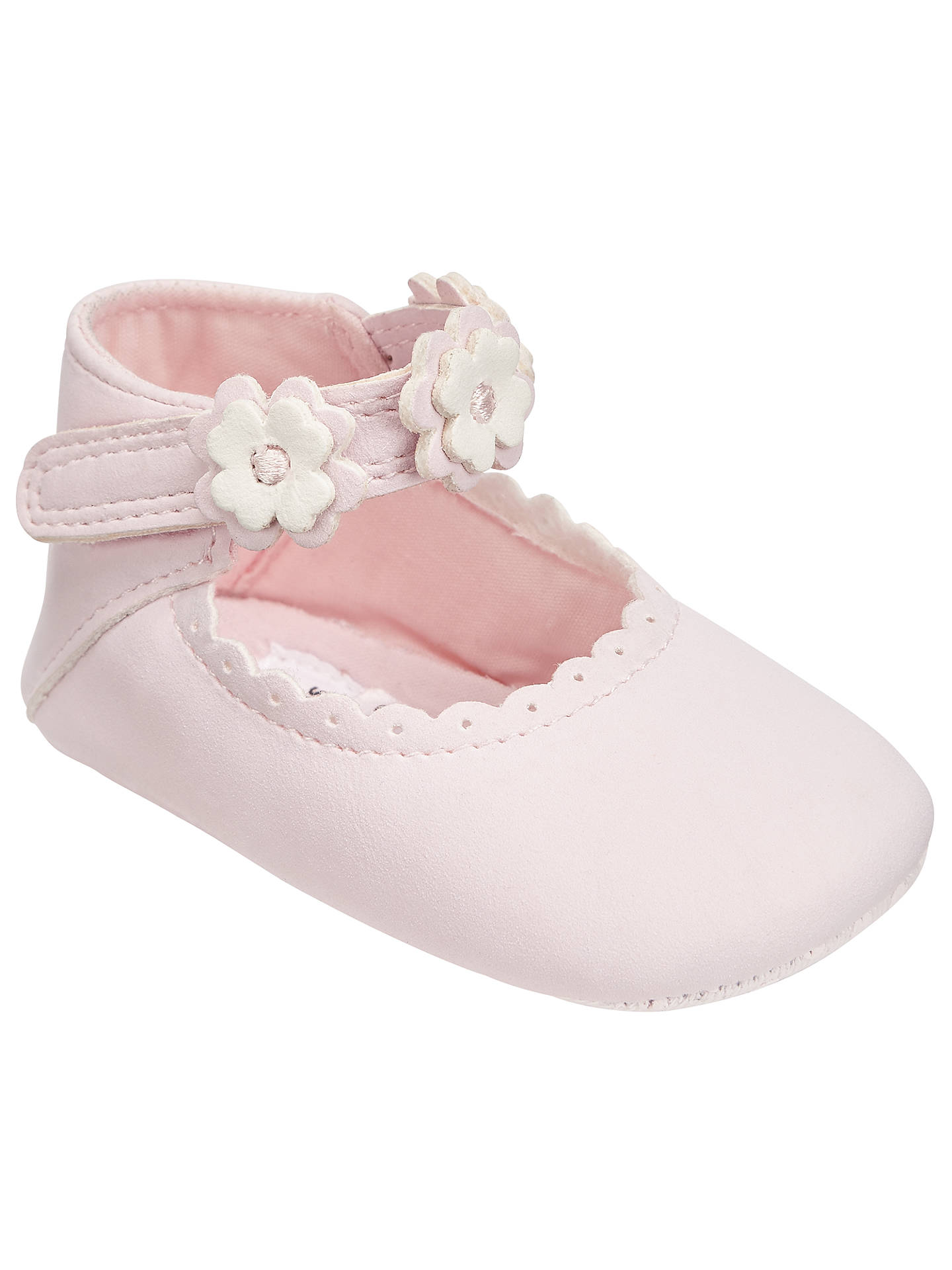John Lewis Baby Floral Applique Mary Jane Pram Shoes, Pink ...