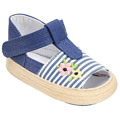 Product photo of John lewis baby floral and stripe open toe espadrille shoes blue white
