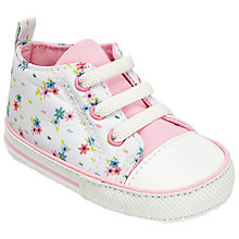 Buy John Lewis Baby Floral Canvas Booties, Pink/White Online at johnlewis.com