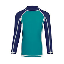 Buy John Lewis Boys' Long Sleeve Rash Vest, Dark Jade Online at johnlewis.com