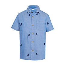 Buy John Lewis Boys' Skull Embroidery Shirt, Blue Online at johnlewis.com