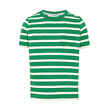 Buy John Lewis Boys' Core Stripe T-Shirt, Green/Cream Online at johnlewis.com