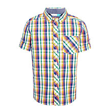 Buy John Lewis Boys' Short Sleeve Checked Shirt, Multi/Yellow Online at johnlewis.com