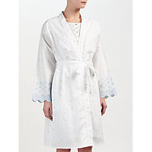 Buy John Lewis Circle Flower Embroidered Dressing Gown, White/Blue Online at johnlewis.com